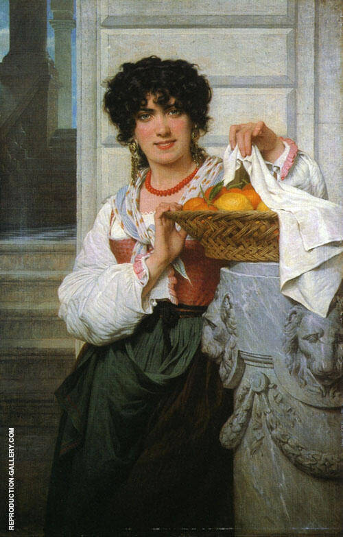 Girl with Basket of Oranges and Lemons 1871 By Pierre Auguste COT