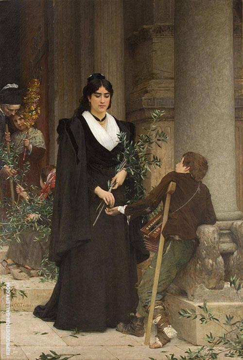 Mireille Faisant l'aumone a la Sortie de Saint Trophime 1882 By Pierre Auguste COT