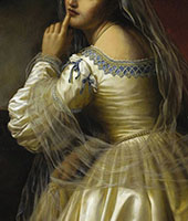 Portrait of a Young Woman 1869 detail By Pierre Auguste COT