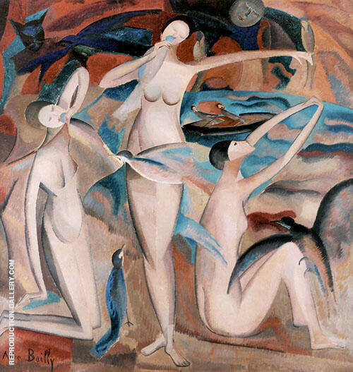 Bathers with Birds 1920 Painting By Alice Bailly - Reproduction Gallery