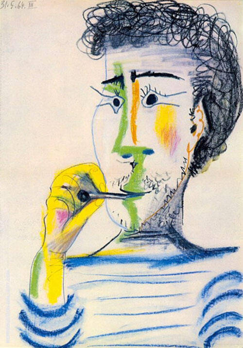 Bearded Man with Cigarette By Pablo Picasso