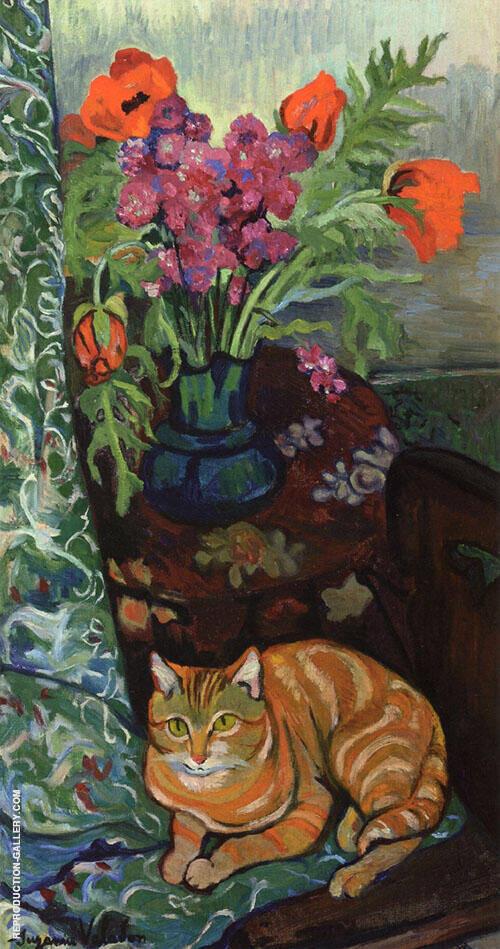 Bouquet and a Cat 1919 By Suzanne Valadon