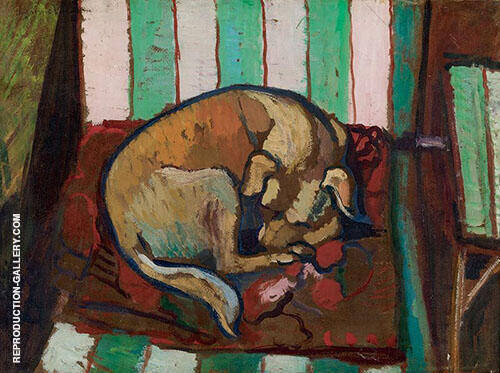 Dog Sleeping on a Cushion Chien Endormi Sur un Coussin 1923 By Suzanne Valadon