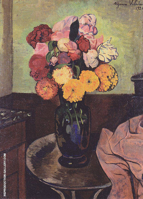 Flower Vase on a Round Table 1920 By Suzanne Valadon