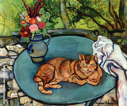Raminou with Picher with Carnations 1932 By Suzanne Valadon