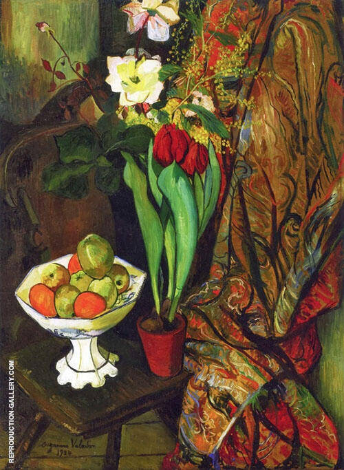Still Life with Tulips and Fruit Bowl By Suzanne Valadon