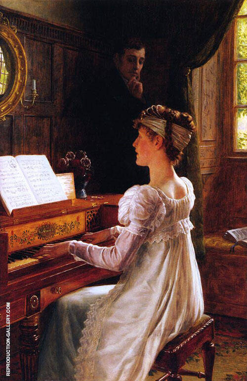 Courtship by The Piano By Edmund Leighton