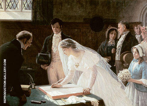 Signing The Register Painting By Edmund Leighton - Reproduction Gallery