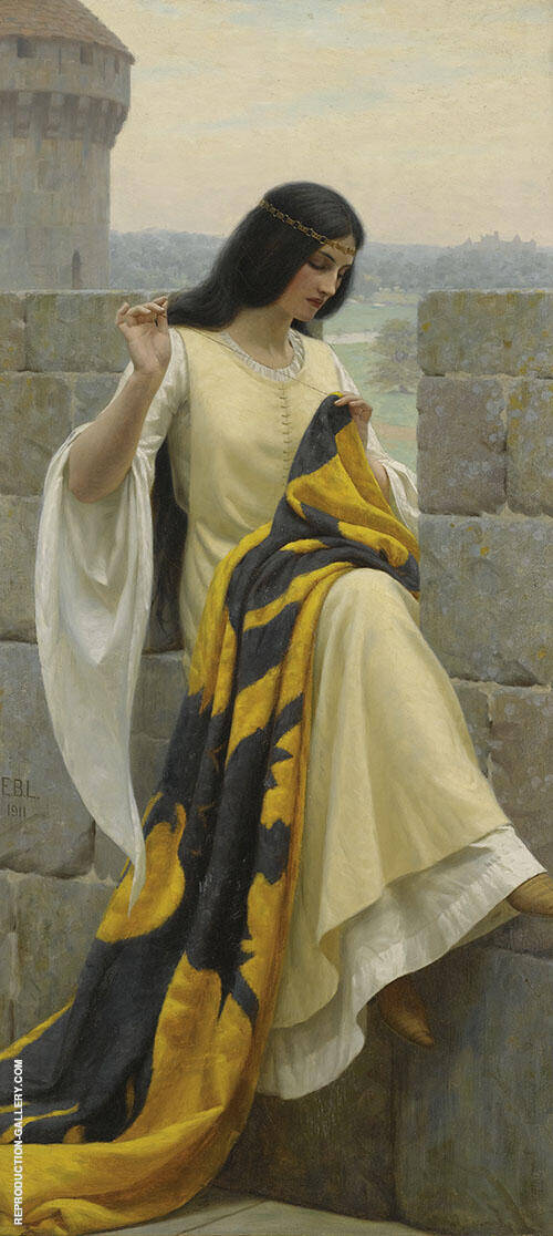 Stitching The Standard Painting By Edmund Leighton - Reproduction Gallery