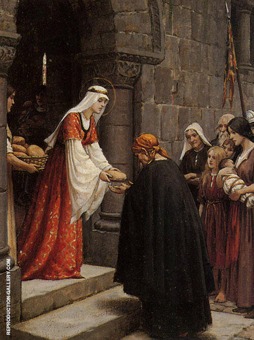 The Charity of Elisabeth of Hungary Painting By Edmund Leighton