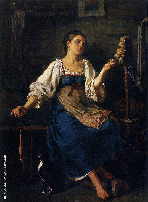 The Spinner 1864 Painting By Firs Sergeyevich Zhuravlev