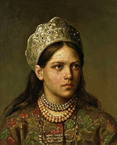 Girl in The Russian Costume By Firs Sergeyevich Zhuravlev