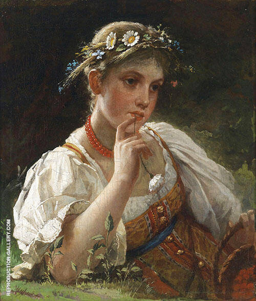 Girl with a Wreath of Flowers Painting By Firs Sergeyevich Zhuravlev