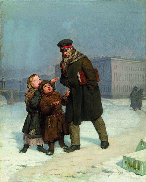 The Beggar Children Painting By Firs Sergeyevich Zhuravlev