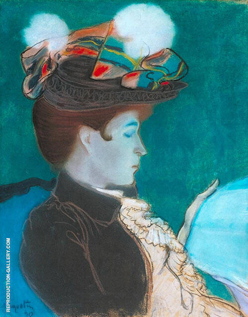 Reading Woman 1890 Painting By Louis Anquetin - Reproduction Gallery