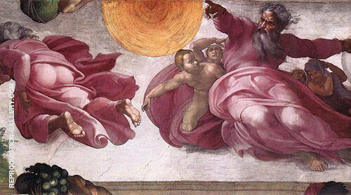 The Creation of The Sun Moon and Vegrtation 1511 By Michelangelo