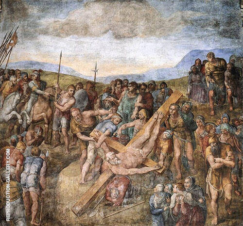 Crucifixion of Saint Peter Painting By Michelangelo - Reproduction Gallery