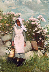 Girl and Laurel 1879 By Winslow Homer