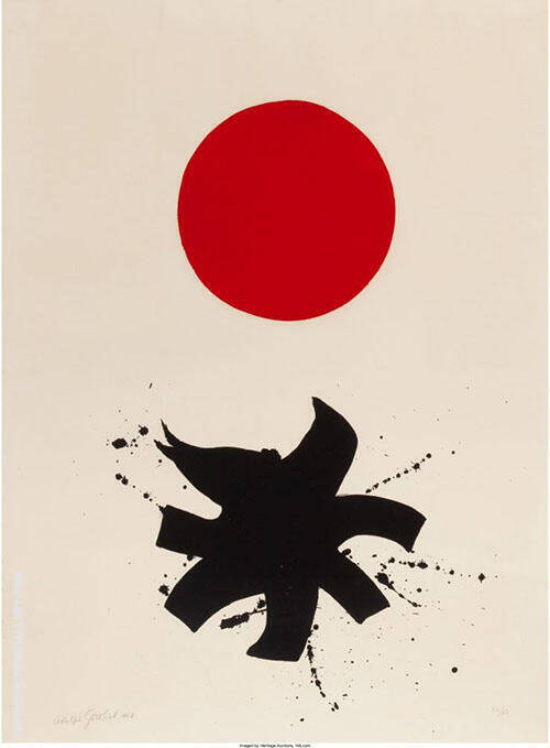 Black Splash Under Red Sphere 1966 By Adolph Gottlieb