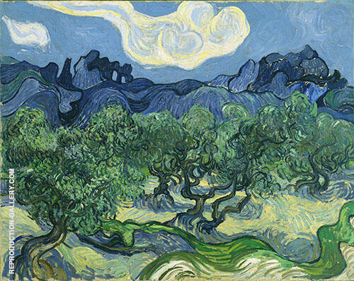Olive Trees with The Alpilles in The Background 1889 By Vincent van Gogh