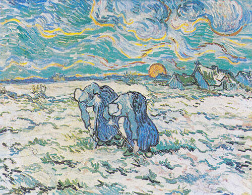 Two Peasant Woman Digging in a Snow Covered Field at Sunset 1890 By Vincent van Gogh