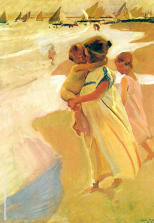 After Bathing Valencia 1908 by Joaquin Sorolla | Oil Painting Reproduction Replica On Canvas - Reproduction Gallery
