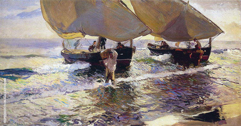 Arrival of the Boats 1907 by Joaquin Sorolla | Oil Painting Reproduction Replica On Canvas - Reproduction Gallery