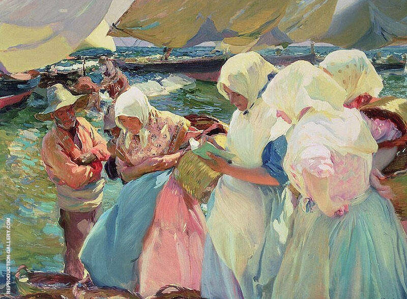 Fisherwomen on the Beach by Joaquin Sorolla | Oil Painting Reproduction Replica On Canvas - Reproduction Gallery