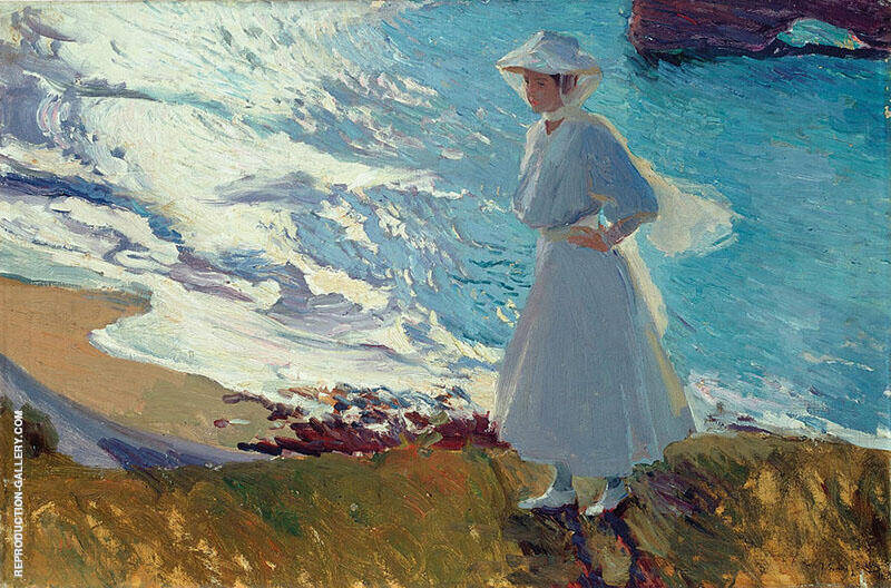 Maria On the Beach at Biarritz By Joaquin Sorolla