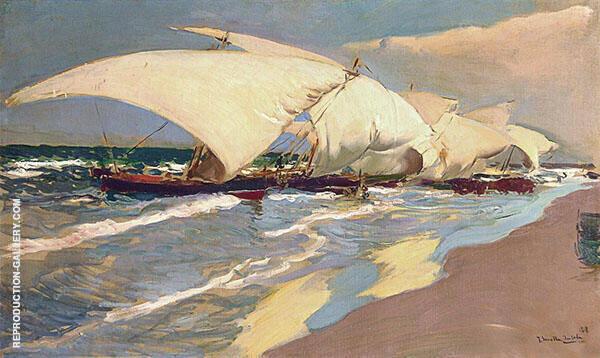 Valencian Boats By Joaquin Sorolla