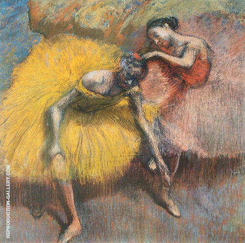 Two Dancers Yellow and Rose c1898 By Edgar Degas Replica Paintings on Canvas - Reproduction Gallery