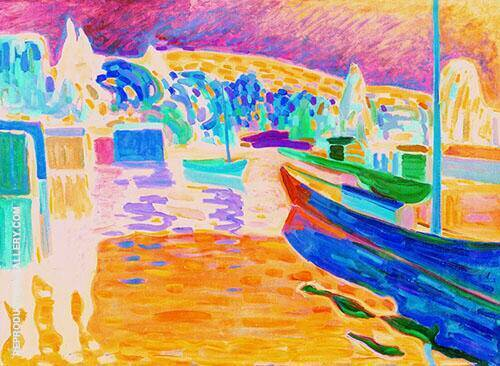 Autumn Landscape with Boats 1908 By Wassily Kandinsky