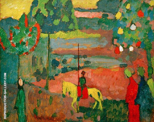 Lancer in Landscape 1908 By Wassily Kandinsky