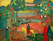 Lancer in Landscape 1908 By Wassily Kandinsky