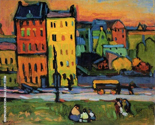 Houses in Munich 1908 Painting By Wassily Kandinsky - Reproduction Gallery