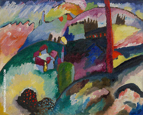 Landscape with Factory Chimney 1910 By Wassily Kandinsky