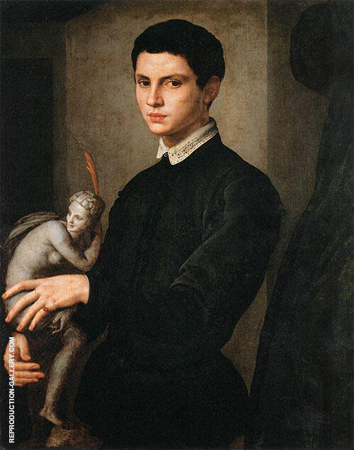 Portrait of a Man Holding a Statuette 1545 Painting By Agnolo Bronzino