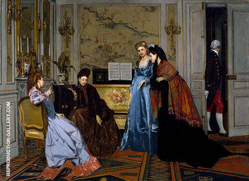 Elgant Figures in a Salon By Alfred Stevens