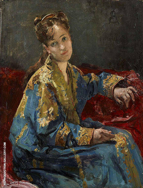 Girl Wearing a Kimono 1872 By Alfred Stevens