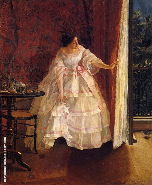 Lady at a Window Feeding Birds 1859 By Alfred Stevens