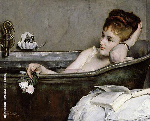 Le Bain By Alfred Stevens Replica Paintings on Canvas - Reproduction Gallery