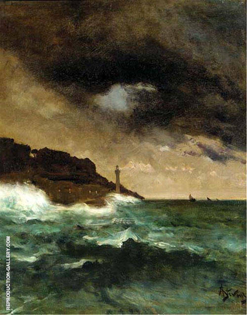 Lighthouse at Dusk By Alfred Stevens