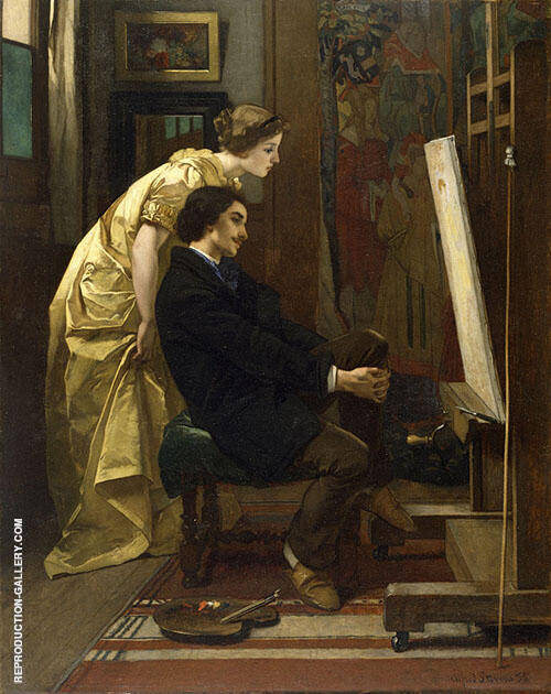 The Painter and His Model 1855 By Alfred Stevens