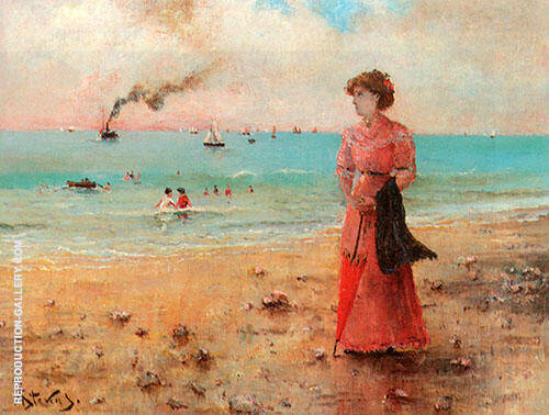 Young Woman on The Shore of The Sea By Alfred Stevens