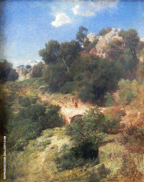Italien Landscape 1858 Painting By Arnold Brocklin - Reproduction Gallery