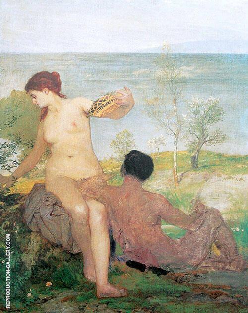 Madchen und Jungling Beim Blumenpflucken 1866 By Arnold Brocklin
