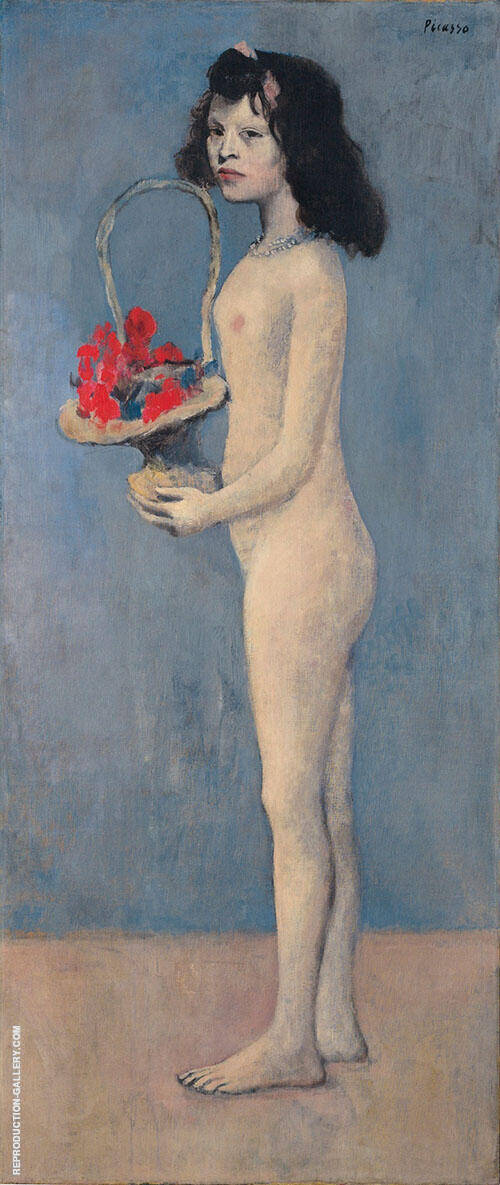Girl with Flower Basket By Pablo Picasso