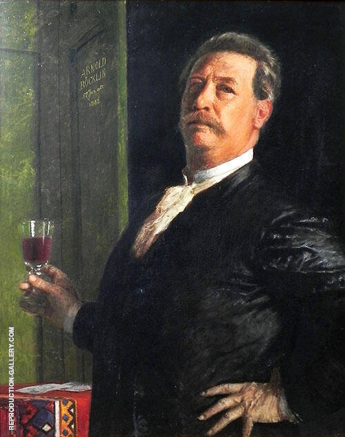 Self Portrait with Wine Grass 1885 By Arnold Brocklin