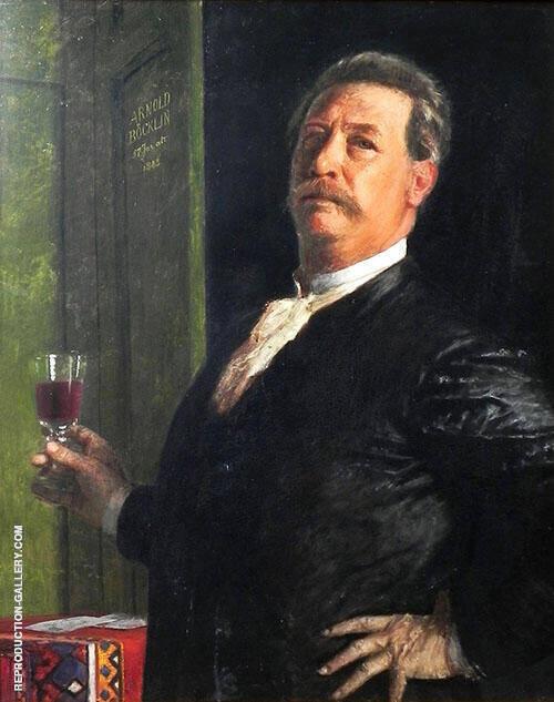Self Portrait with Wine Grass 1885 By Arnold Brocklin