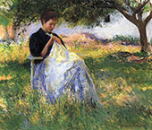 Girl Sewing in an Orchard 1891 By Edmund C Tarbell